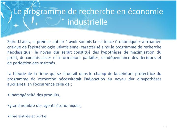 Le programme de recherche en économie industrielle