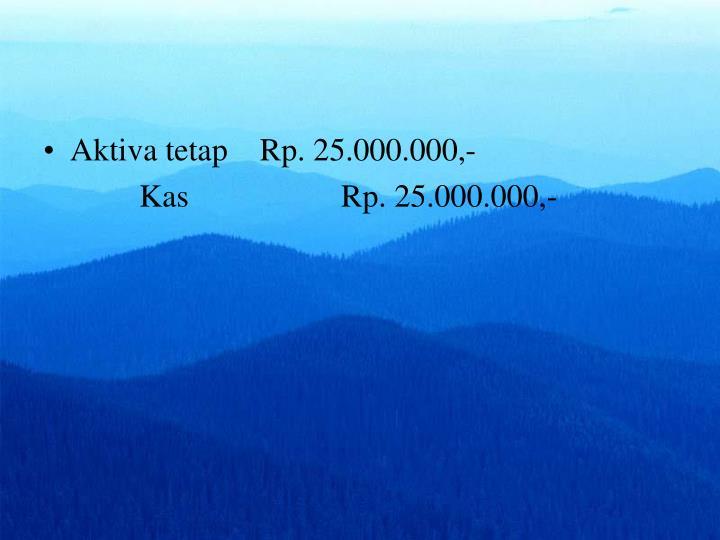 Aktiva tetap    Rp. 25.000.000,-