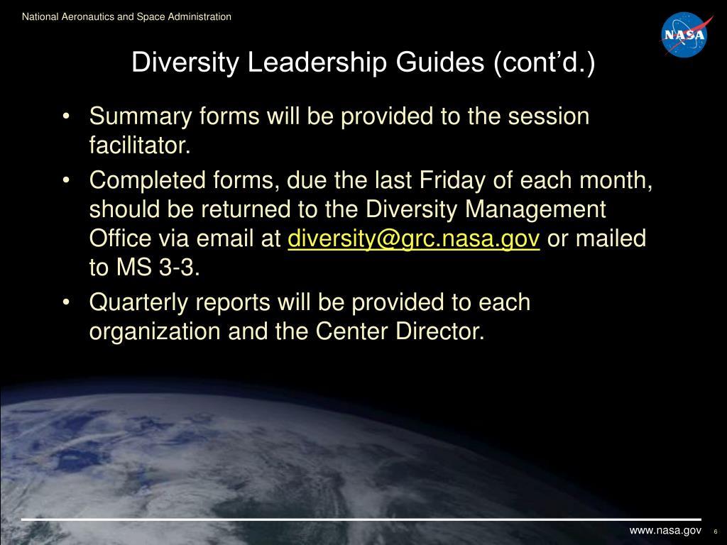 Diversity Leadership Guides (cont'd.)