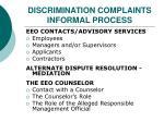 discrimination complaints informal process