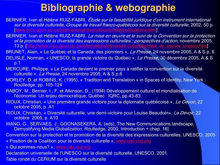 Bibliographie & webographie