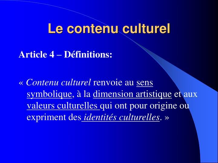 Le contenu culturel