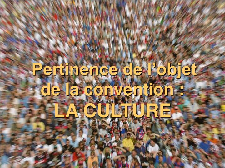 Pertinence de l'objet de la convention :