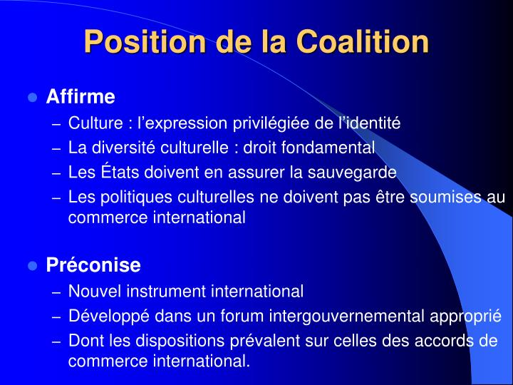 Position de la Coalition