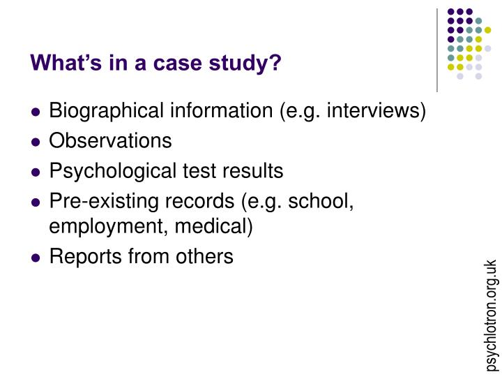 What's in a case study?