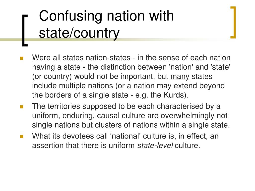Confusing nation with state/country