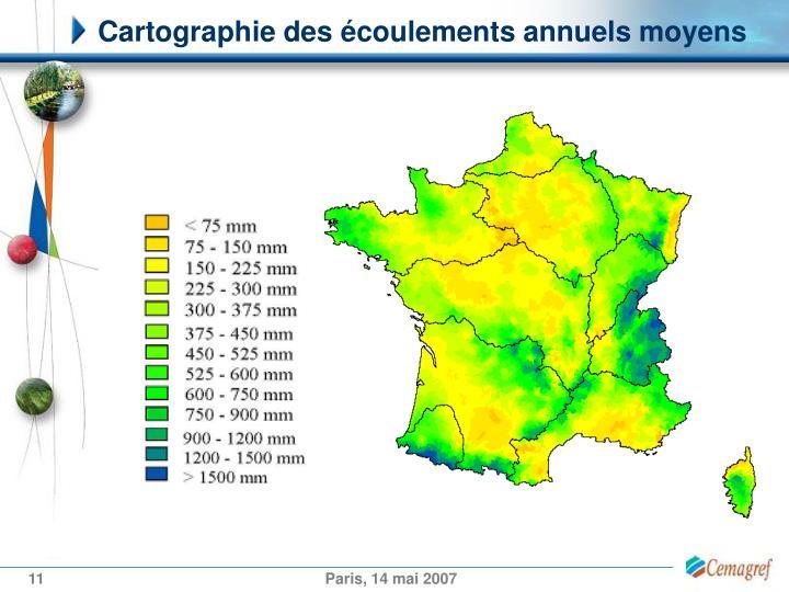 Cartographie des écoulements annuels moyens