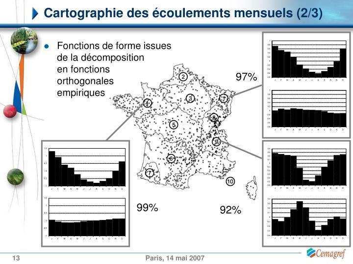 Cartographie des écoulements mensuels (2/3)