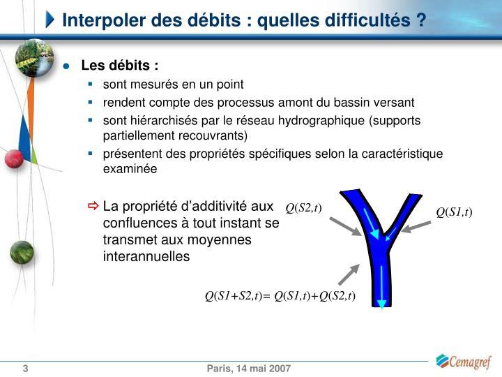 Interpoler des débits : quelles difficultés ?