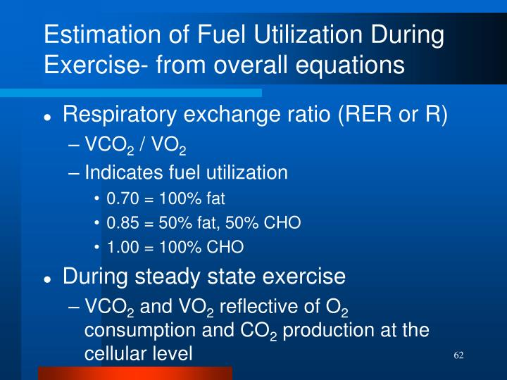 Estimation of Fuel Utilization During Exercise- from overall equations