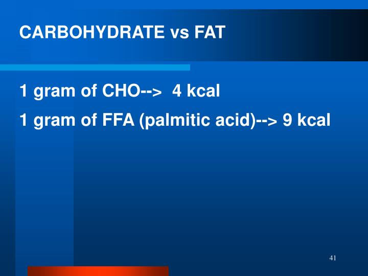 CARBOHYDRATE vs FAT