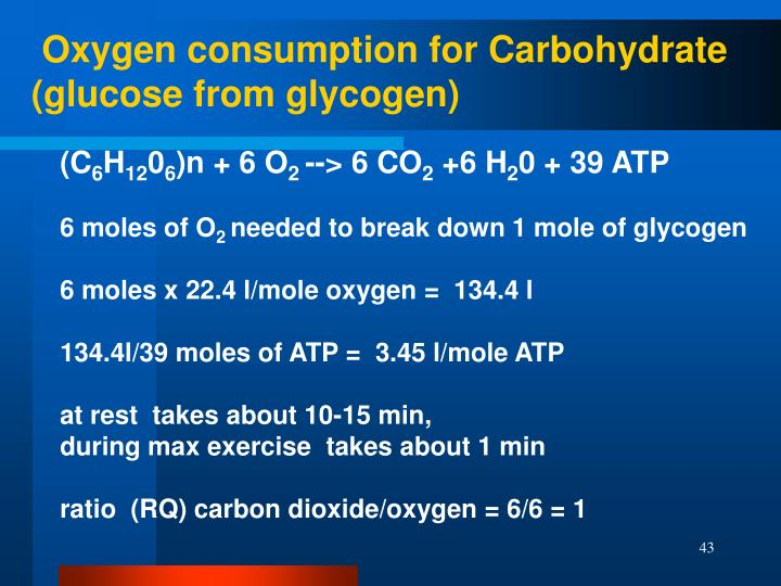 Oxygen consumption for Carbohydrate (glucose from glycogen)