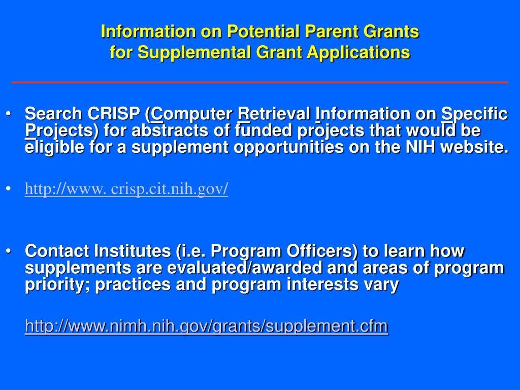 Information on Potential Parent Grants