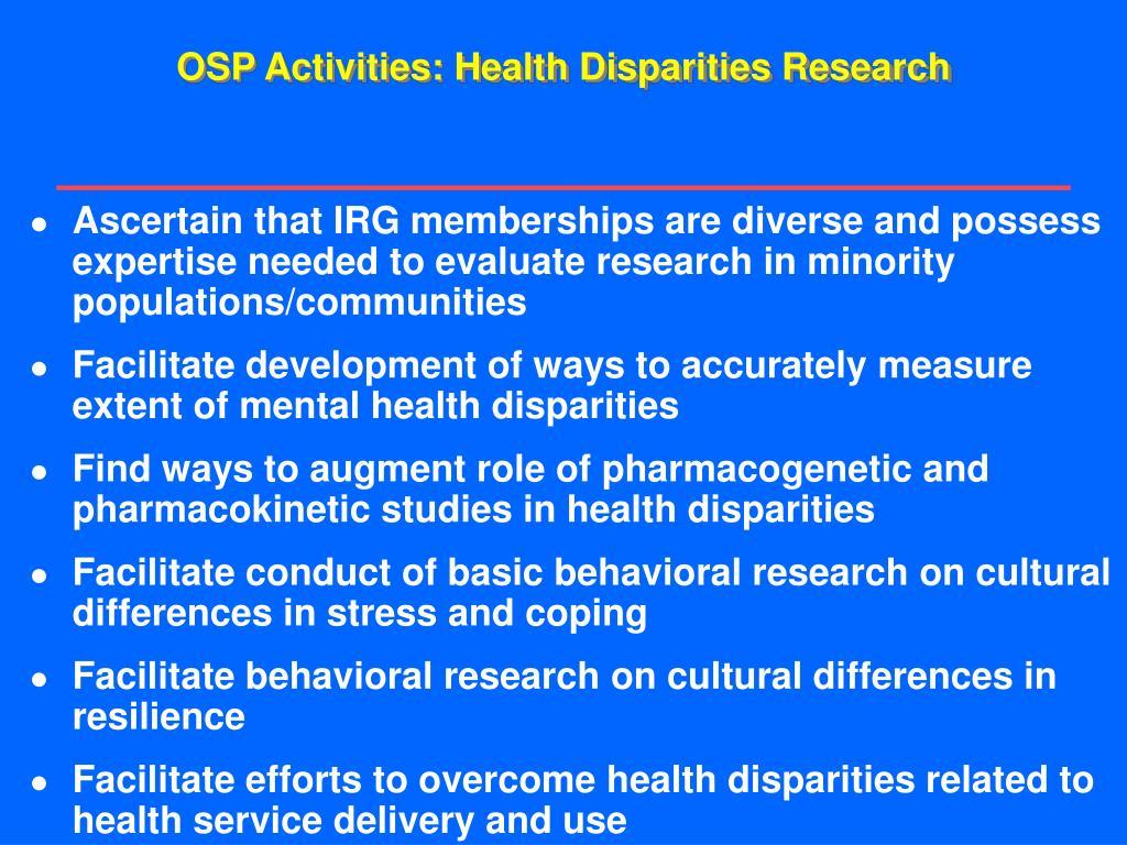 OSP Activities: Health Disparities Research