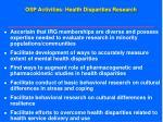 osp activities health disparities research