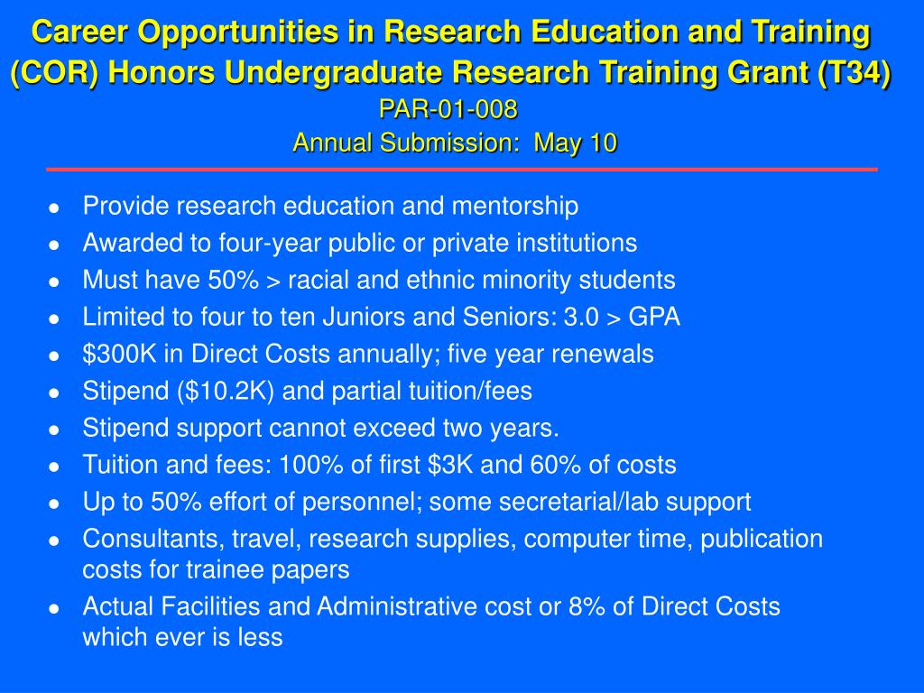 Career Opportunities in Research Education and Training
