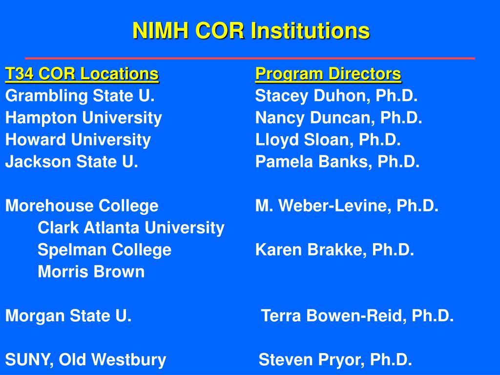 NIMH COR Institutions