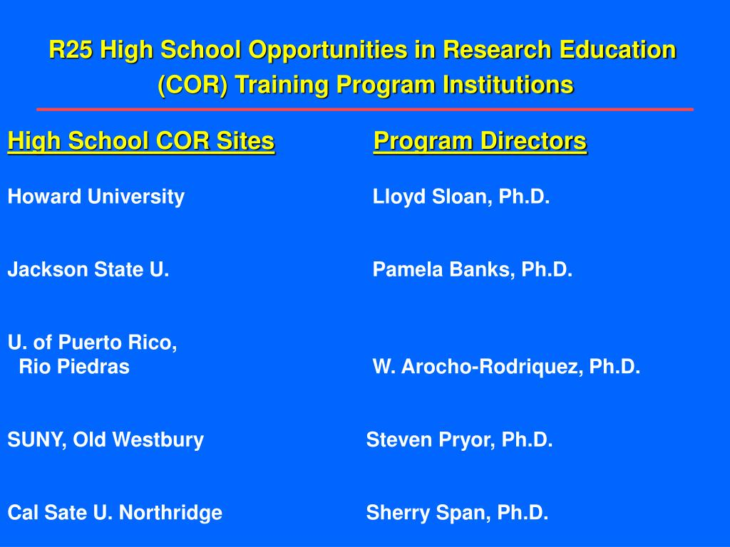 R25 High School Opportunities in Research Education