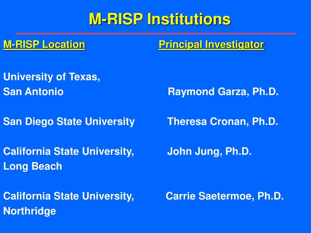 M-RISP Institutions