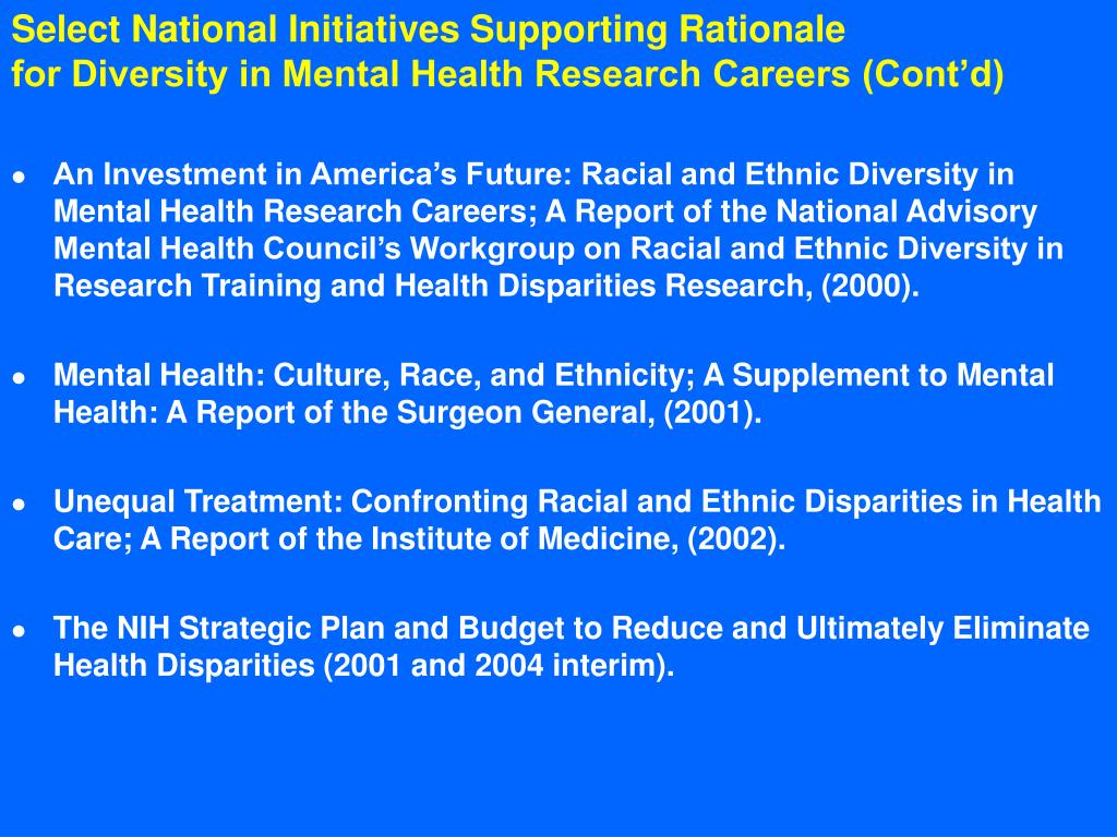 Select National Initiatives Supporting Rationale
