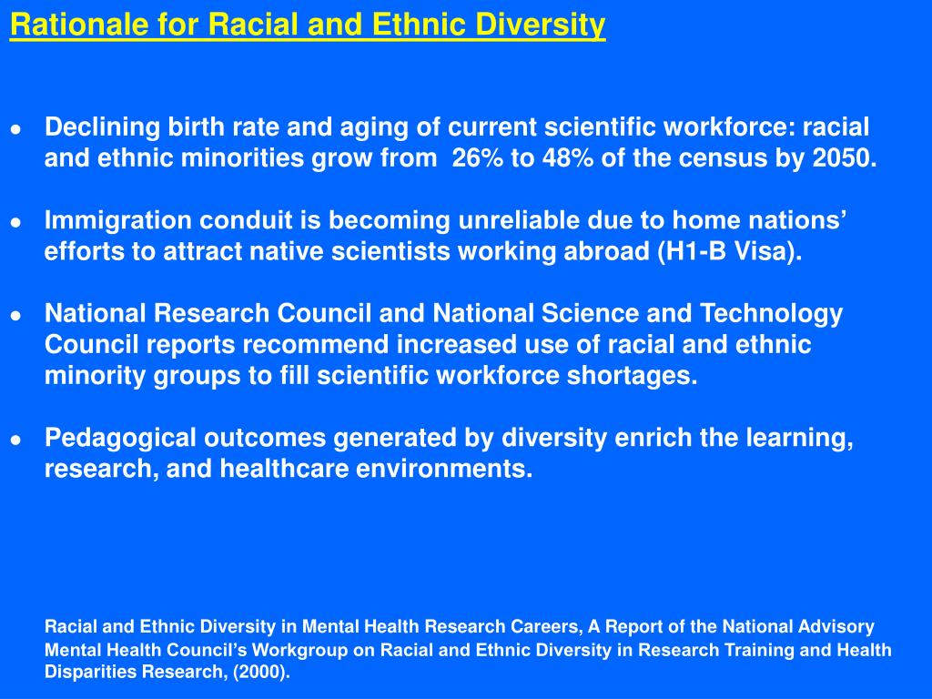 Rationale for Racial and Ethnic Diversity