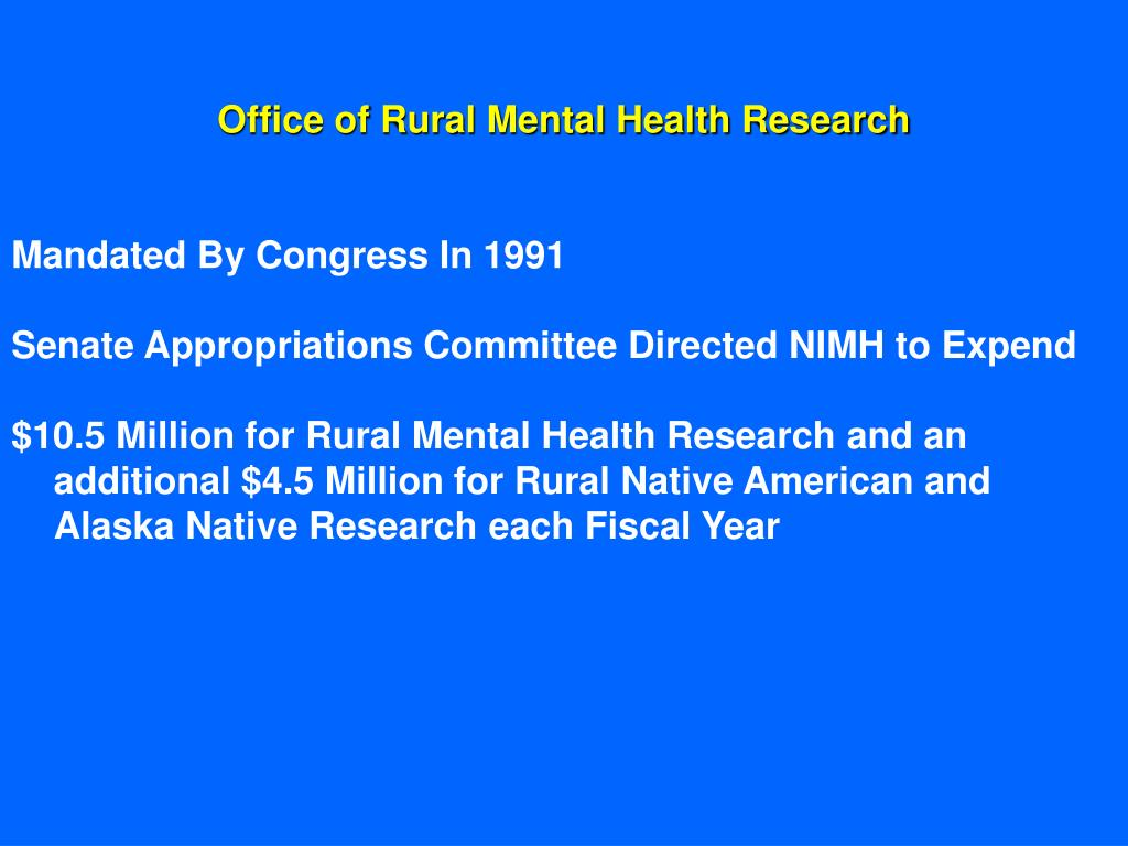 Office of Rural Mental Health Research