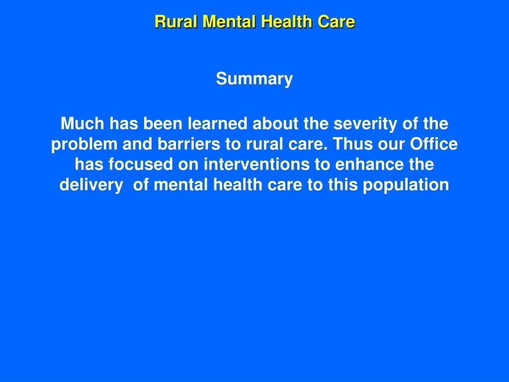 Rural Mental Health Care