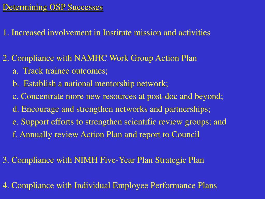 Determining OSP Successes