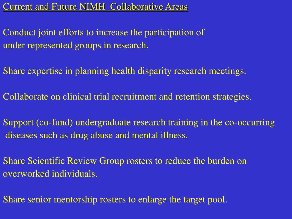 Current and Future NIMH  Collaborative Areas