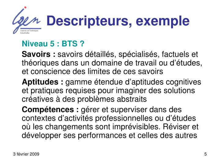Descripteurs, exemple