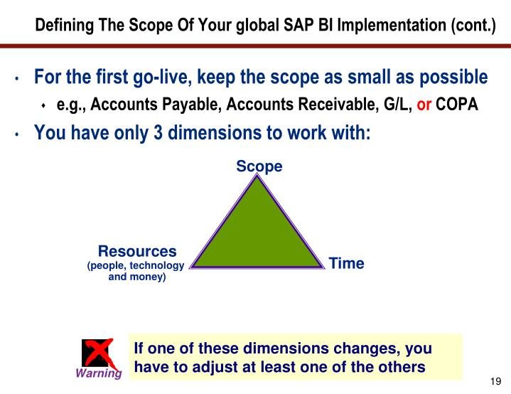 Defining The Scope Of Your global SAP BI Implementation (cont.)
