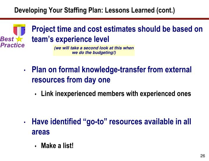 Developing Your Staffing Plan: