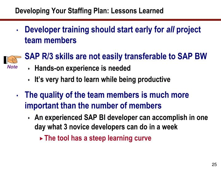 Developing Your Staffing Plan: Lessons Learned