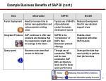 example business benefits of sap bi cont