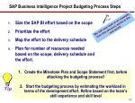 sap business intelligence project budgeting process steps