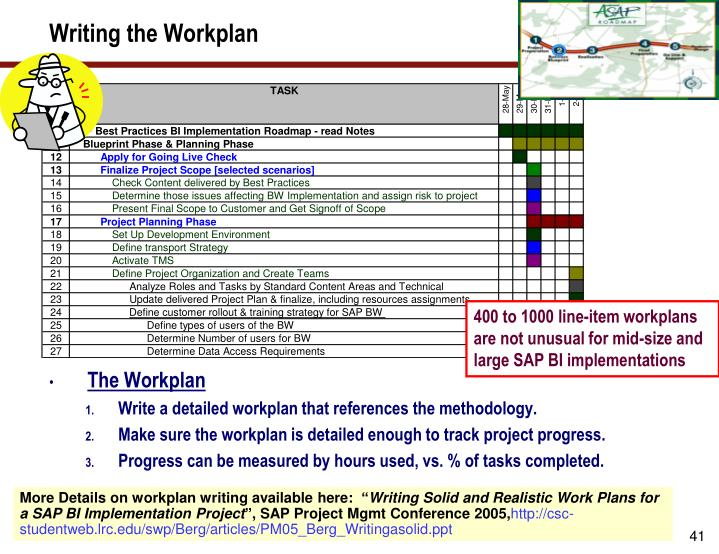 Writing the Workplan