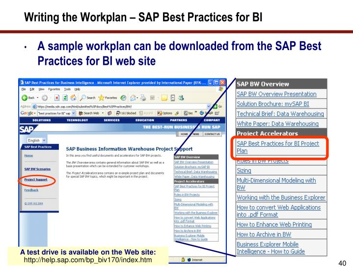 Writing the Workplan – SAP Best Practices for BI