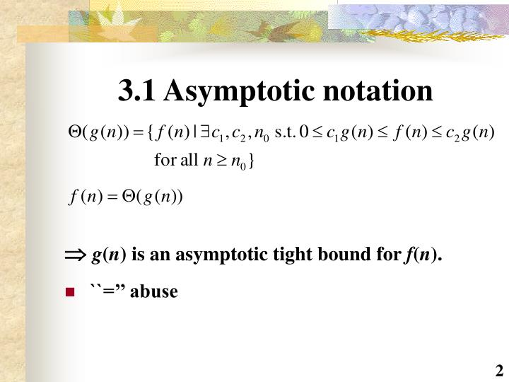 3.1 Asymptotic notation