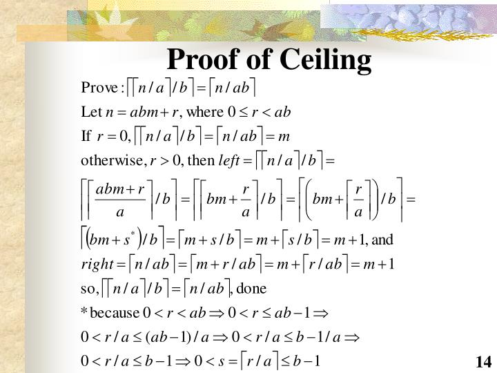 Proof of Ceiling