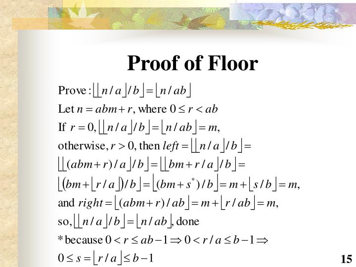 Proof of Floor