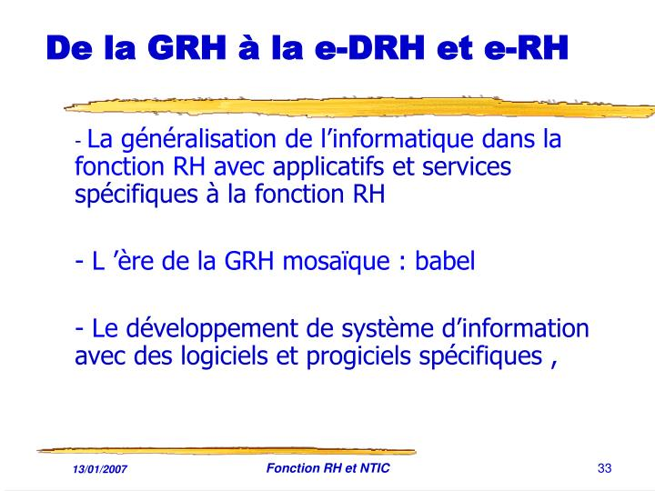 De la GRH à la e-DRH et e-RH