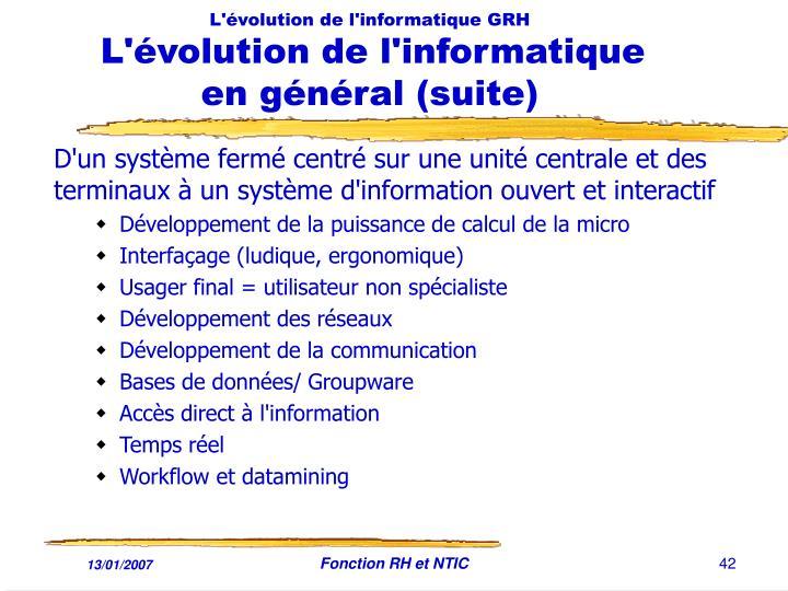 L'évolution de l'informatique GRH