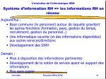 l volution de l informatique grh syst me d information rh les informations rh en r seau