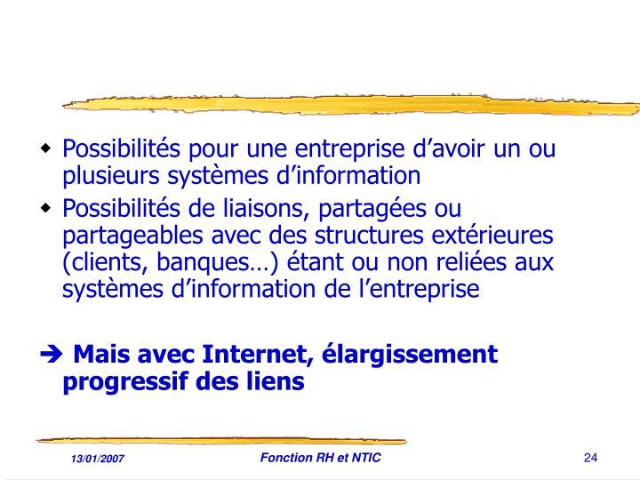 Possibilités pour une entreprise d'avoir un ou plusieurs systèmes d'information