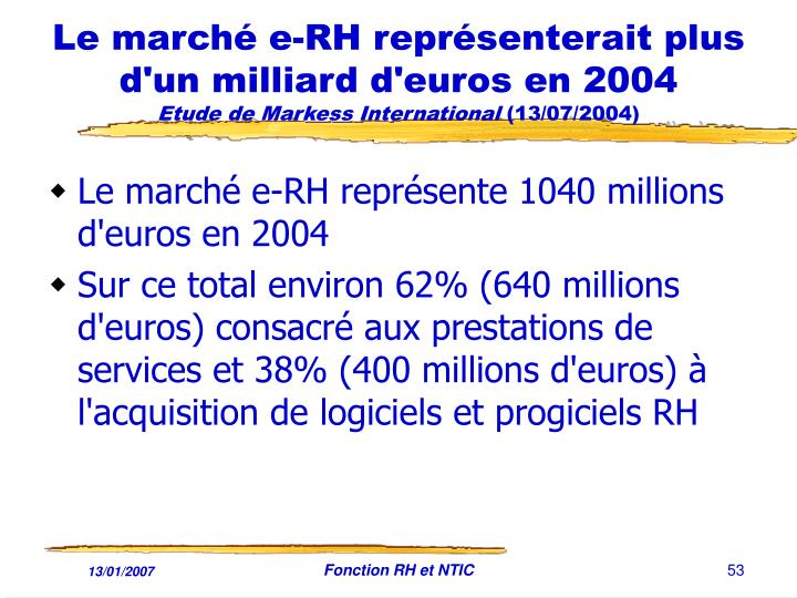 Le marché e-RH représenterait plus d'un milliard d'euros en 2004