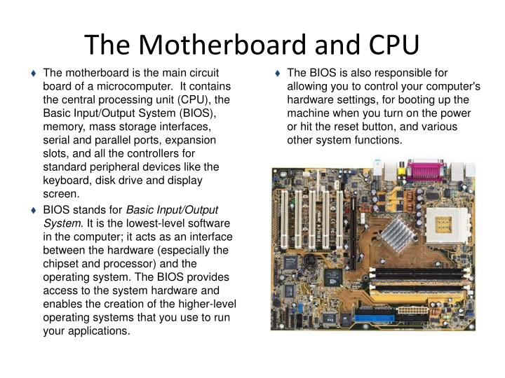 The Motherboard and CPU