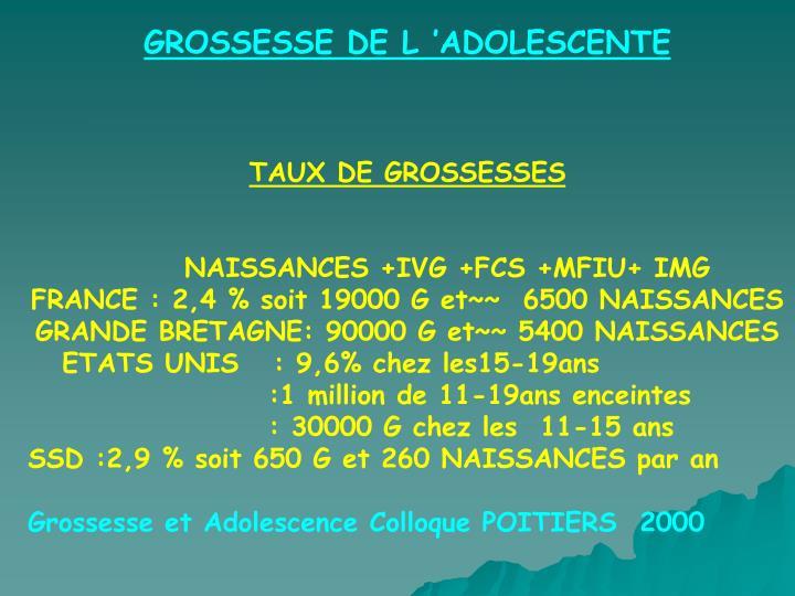 GROSSESSE DE L'ADOLESCENTE