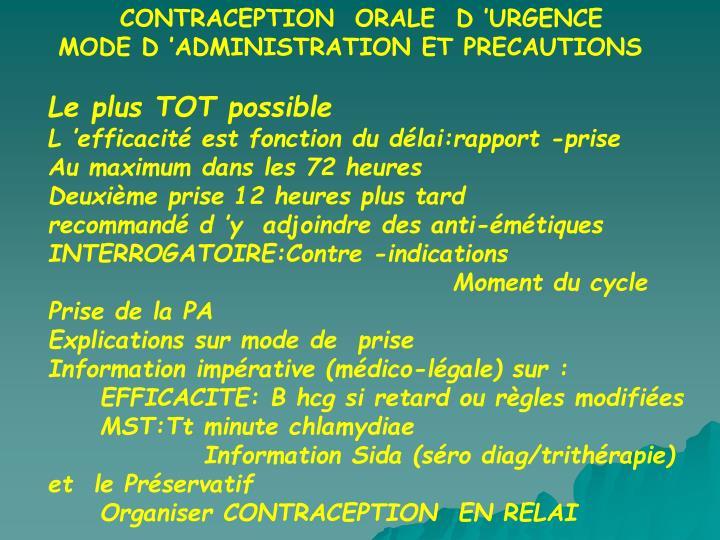 CONTRACEPTION  ORALE  D'URGENCE