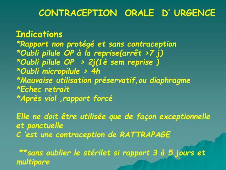 CONTRACEPTION  ORALE  D' URGENCE
