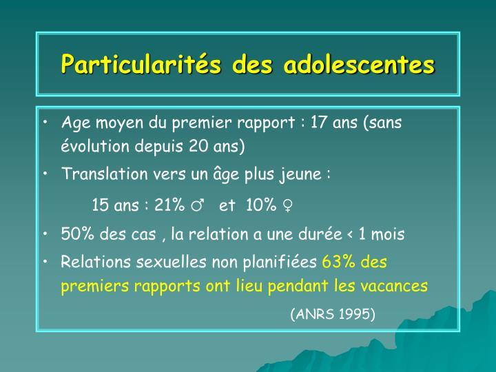 Particularités des adolescentes